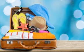 Picture glare, background, stay, photo, clothing, towel, vacation, hat, glasses, the camera, suitcase, starfish, bokeh, slates, …