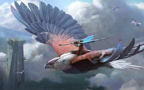 Picture gun, fantasy, tower, sky, flying, weapon, wings, clouds, birds, animal, artist, digital art, artwork, warrior, ...