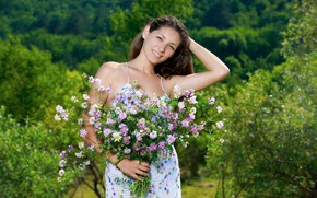 Picture dress, nature, smile, flowers, model, greenery, outdoor, Rosella