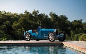 Picture Pool, Blue, Vintage, Retro, 1927, Bugatti Type 35C