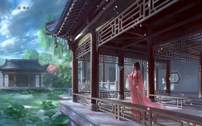Picture lake, fantasy, art, Lotus, Princess, Palace, zhong wenhao, Crisp, the favorable wind and smooth.