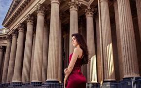 Picture girl, pose, hair, back, the building, figure, dress, brunette, beauty