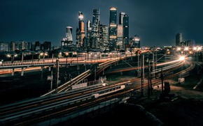 Picture night, the city, building, road, home, lighting, lights, Moscow, skyscrapers, Moscow-City