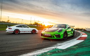 Picture sunset, 911, Porsche, pair, 2018, GT3 RS, Weissach Package