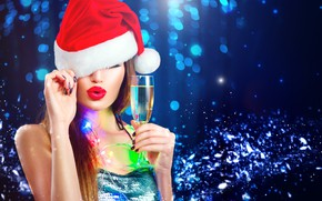 Picture girl, glass, makeup, New year, champagne, bokeh, model, Anna Subbotina