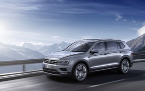 Picture mountains, grey, Volkswagen, the fence, Tiguan