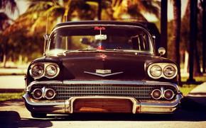 Picture Chevrolet, Old, Vintage, Custom, Wagon, Low, Nomad, Chevrolet Bel Air Impala, 1958 Year, Black primer