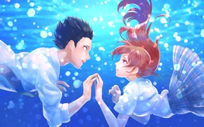 Picture love, romance, pair, Anime, under water, 2016, You no Katachi, A Silent Voice, Form Voice