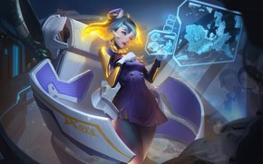 Picture fiction, Girl, hologram, Blue Hair, Arena of Valor