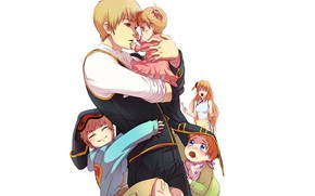 Picture children, romance, anime, family, art, guy, dad, wife, GinTama