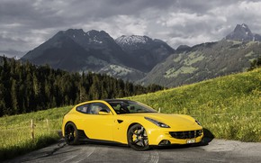 Picture Ferrari, forest, yellow, mountain