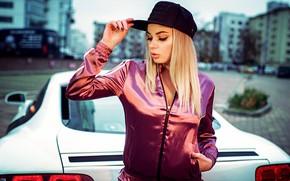 Picture pose, background, model, portrait, makeup, jacket, hairstyle, blonde, cap, is, car, bokeh, Kirill Bukrey, у …