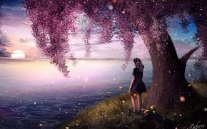 Picture girl, nature, river, tree, flowering