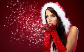 Picture winter, look, girl, snowflakes, face, makeup, New year, gloves, fur