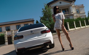 Picture machine, house, Girl, BMW, dress, glasses, shoes, legs, Alex Bazilev, Valeriy Soldatov