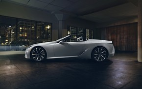 Picture white, Lexus, convertible, side view, 2019, LC Convertible Concept