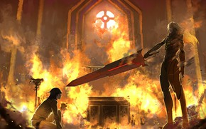 Picture fire, fire, sword, guys