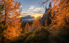 Picture autumn, the sun, rays, trees, sunset, mountains, nature, height, Italy, Andrew Bazanov