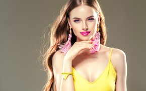 Picture look, girl, hand, makeup, hairstyle, gesture, long hair, earrings, manicure, model, Ryabusjkina Irina