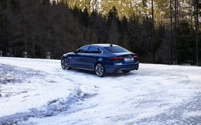 Picture road, forest, snow, trees, Jaguar, turn, sedan, Jaguar XF, 2020, XF