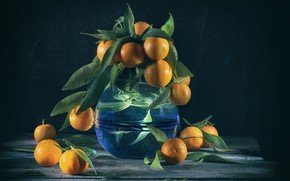 Picture water, table, bouquet, vase, still life, tangerines