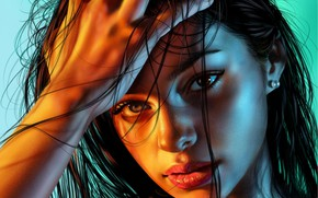 Picture eyes, look, girl, face, background, hair, hand, portrait, art