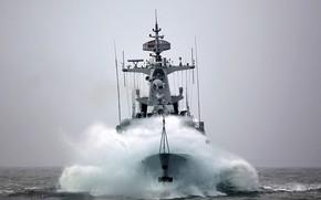 Picture sea, storm, frigate