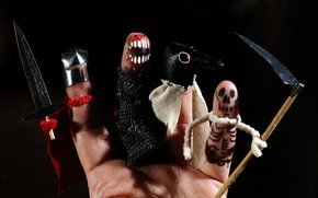 Picture death, weapons, fear, holiday, hand, mouth, skeleton, dagger, braid, horror, fingers, black background, Halloween, palm, …