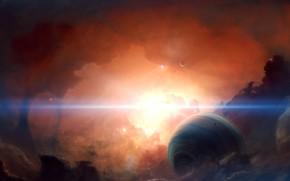 Picture space, nebula, sun, planet