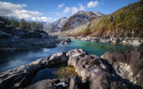 Picture clouds, landscape, mountains, nature, river, stones, forest, Bank, Katun, Altay