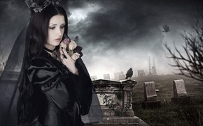 Picture girl, graves, cemetery
