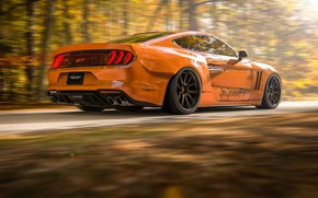 Picture Mustang, Auto, Machine, Orange, Movement, Ford Mustang, Rendering, Transport & Vehicles, Rostislav Prokop, by Rostislav …