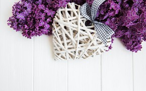 Picture branch, tape, heart, bow, lilac, Olena Rudo