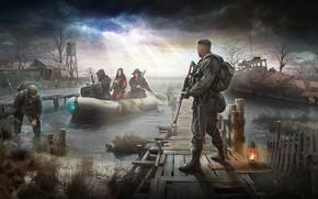 Wallpaper house, boat, ship, swamp, art, stalker, SVD, Stalker, stalkers, AK 47