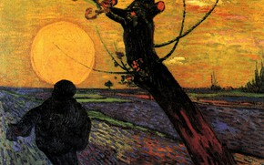 Picture the sun, tree, people, the evening, Vincent van Gogh, The Sower 3