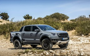 Picture the sky, stones, grey, Ford, Raptor, pickup, shrub, Ranger, 2019