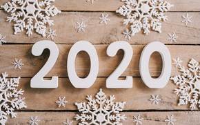 Picture snowflakes, New Year, new year, wood, snowflakes, 2020, hqappy