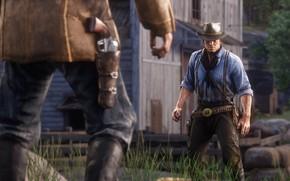 Picture hat, duel, weapons, Rockstar, Bandit, Red Dead Redemption 2, Arthur Morgan