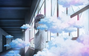 Picture girl, clouds, corridor