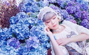 Picture summer, girl, light, flowers, nature, stay, sleep, garden, dress, outfit, Asian, photoshoot, hydrangea