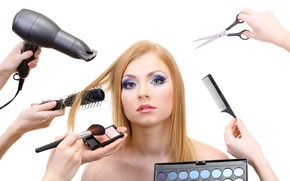 Picture girl, hands, makeup, hairstyle, blonde, white background, shadows, brush, beauty, scissors, Hairdryer, combs, Marafet, make-up