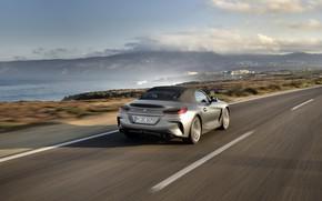 Picture road, grey, movement, rocks, coast, BMW, Roadster, BMW Z4, M40i, Z4, 2019, G29
