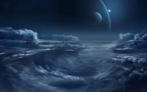 Picture fantasy, sky, night, clouds, planets, artist, digital art, artwork, fantasy art, illustration, Chris Goff