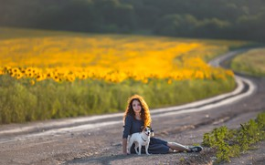 Picture road, girl, dog, lies