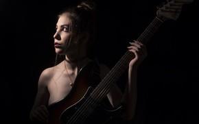 Wallpaper girl, guitar, Emilie Grungie