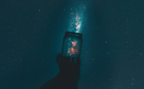 Picture The sky, Night, Stars, Space, Nebula, Hand, Bank
