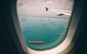 Wallpaper Sea, The city, The plane, View, Flight, Court, The window, Singapore, The ship, Singapore, RAID, ...