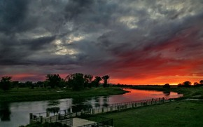 Picture clouds, river, dawn, morning, glow