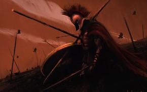 Picture Warrior, Sparta, Art, Painting, Art, Warrior, Spartan, by Kentaro Kameda, Kentaro Kameda