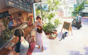 Picture street, anime, art, weekdays, shop, cafe, Taejune Kim, A warm day